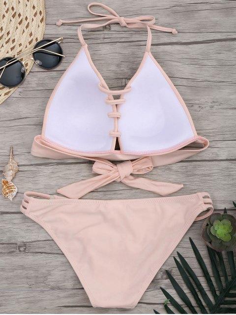 buy Fuller Bust Molded Cup Bikini Set - PINK M Mobile