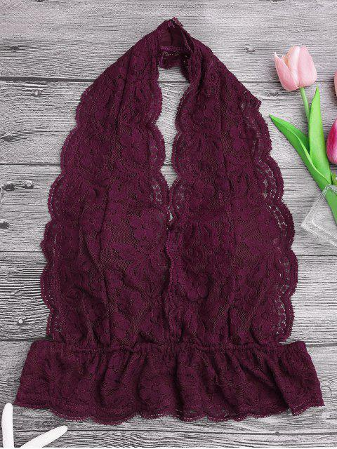 fancy Galloon Lace Plunge Halter Bra - BURGUNDY XL Mobile