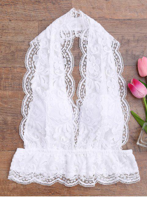 best Galloon Lace Plunge Halter Bra - WHITE M Mobile