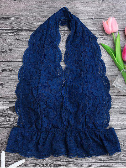 outfit Galloon Lace Plunge Halter Bra - BLUE M Mobile