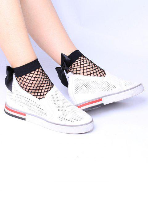 affordable Fishnet Bowknot Embellished Anklet Socks - BLACK  Mobile
