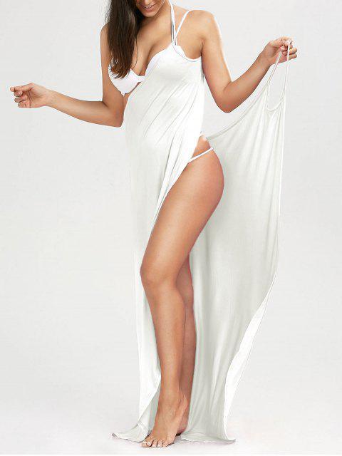 women Beach Maxi Wrap Slip Dress - WHITE S Mobile