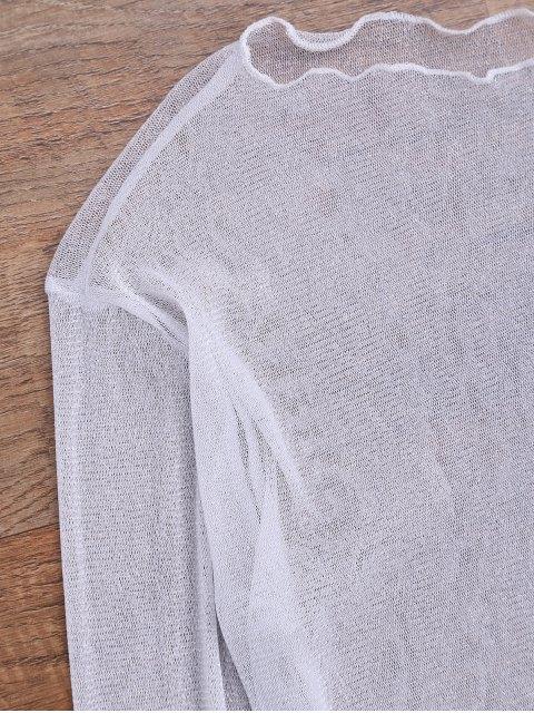 Cache maillot de plage en maille transparent brillant - Blanc L Mobile