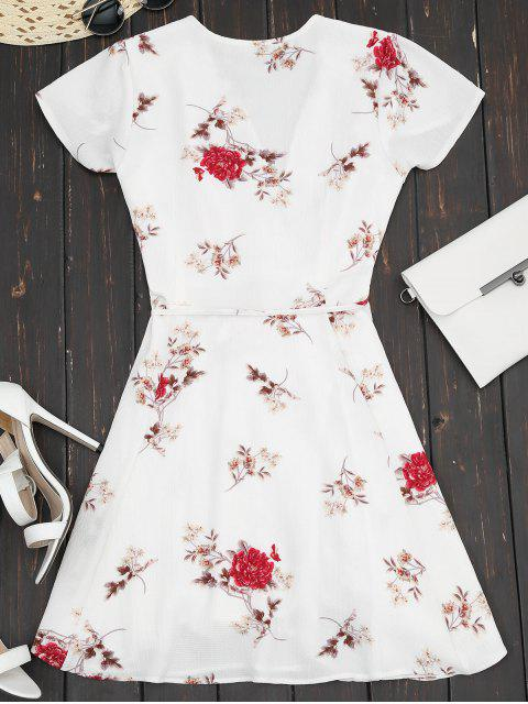 chic Plunge Cap Sleeve Floral Wrap Dress - WHITE S Mobile