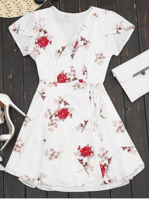 unique Plunge Cap Sleeve Floral Wrap Dress - WHITE L Mobile