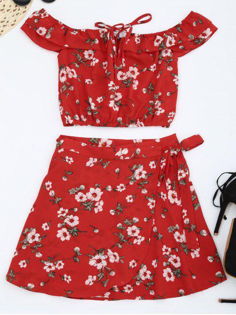 Haut épicé épaule avec jupe enveloppante - Rouge M Mobile
