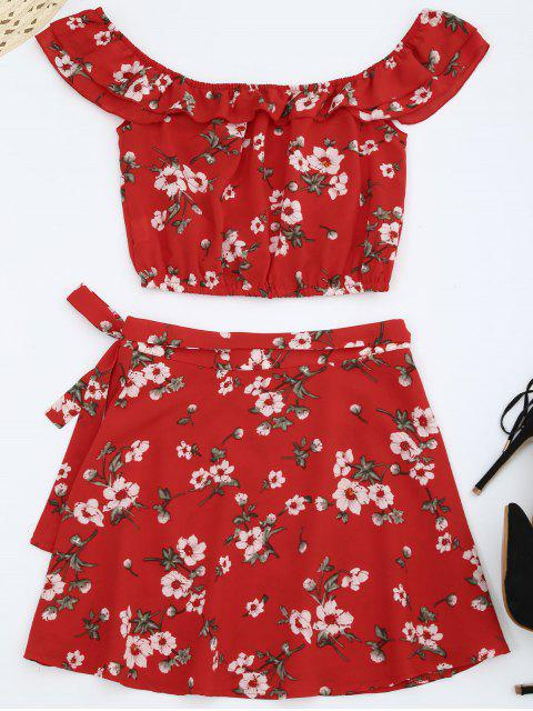 fashion Off Shoulder Floral Top with Wrap Skirt - RED L Mobile
