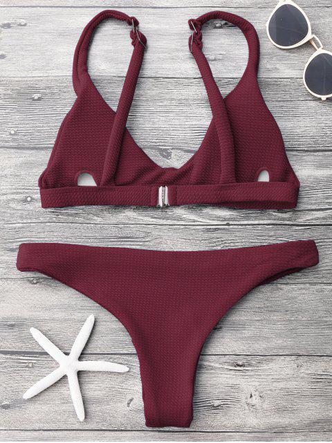new Low Waisted Padded Scoop Bikini Set - BURGUNDY S Mobile