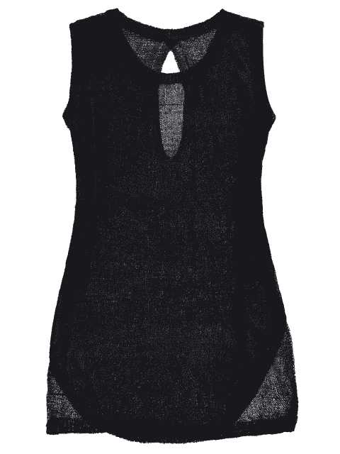 women's See-Through Beach Cover Up Tank Dress - BLACK ONE SIZE Mobile