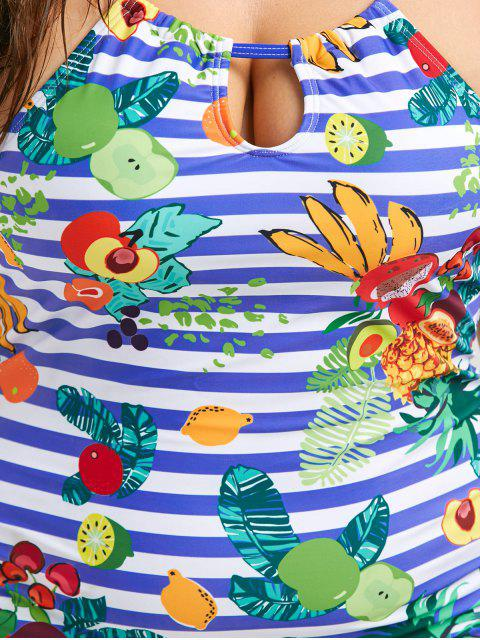 chic Cross Back Tropical Fruit Print Plus Size Tankini Set - BLUE 2XL Mobile