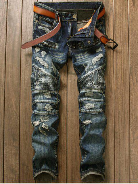 buy Zipper Ripped and Repaired Biker Jeans - DENIM BLUE 34 Mobile