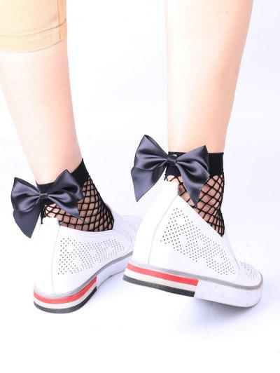 Fishnet Bowknot Embellished Anklet Socks - Black