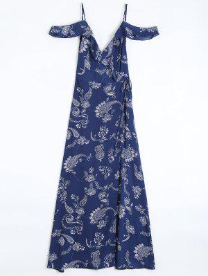 Cold Shoulder Paisley Ruffles Maxi Wrap Dress - Purplish Blue S