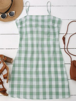 Slip Tie Back Plaid Dress - Green S