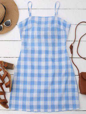 Slip Tie Back Plaid Dress - Blue L