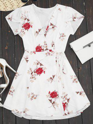 Plunge Cap Sleeve Floral Wrap Dress