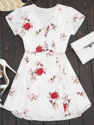 Plunge Cap Sleeve Floral Wrap Dress - White S