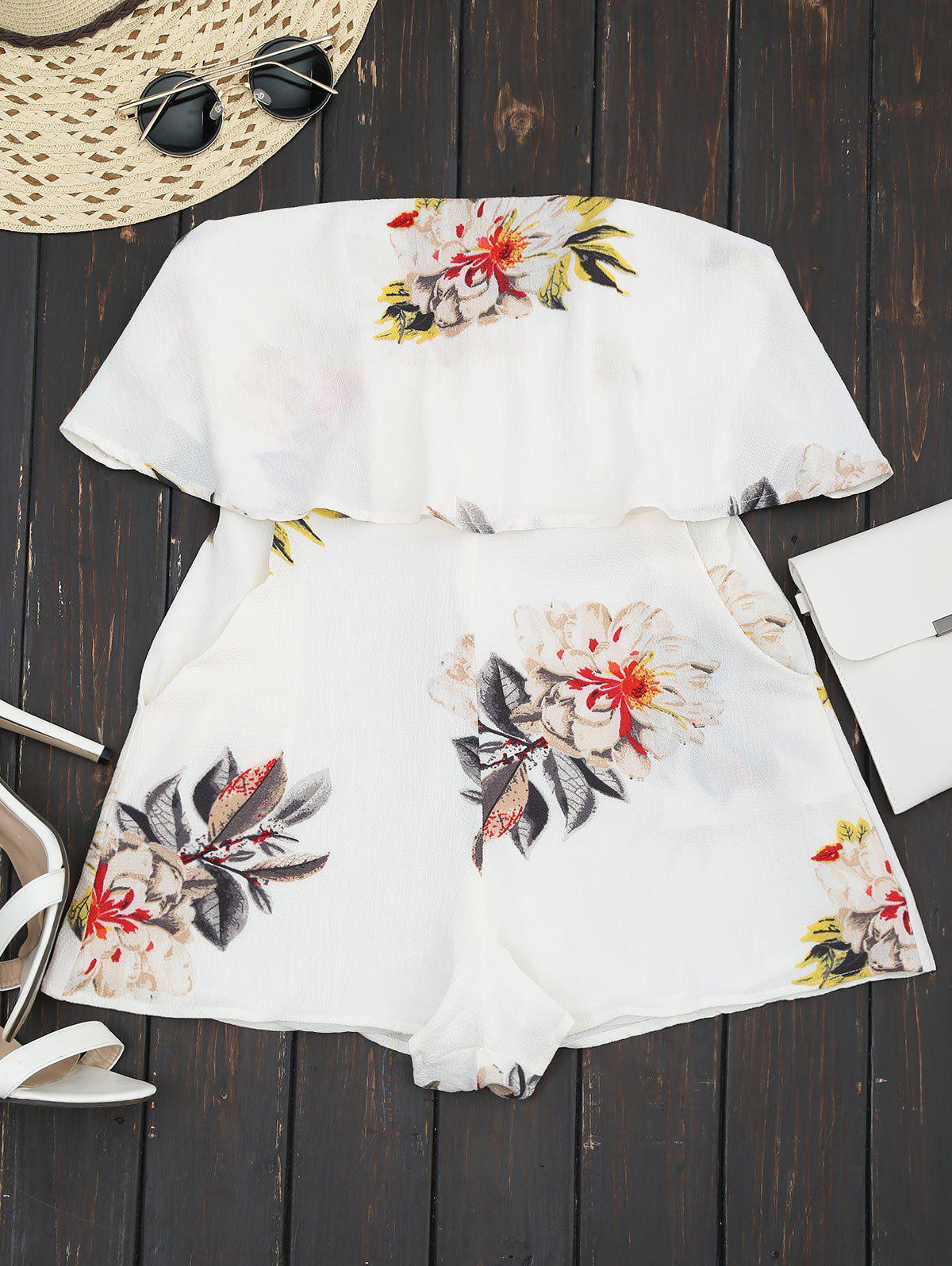 Floral Strapless Ruffle Romper 213399603