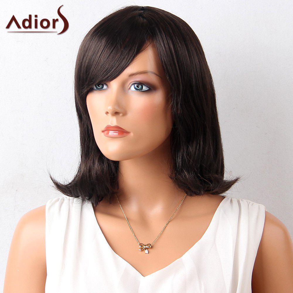 Adiors Medium Inclined Bang Straight Lob Synthetic Wig 213554501