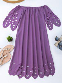 فستان بلا اكتاف توهج ميدي - أرجواني S