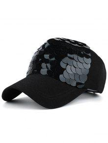 Twinkling Fish Scale Design Baseball Hat - Full Black