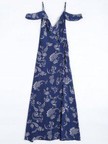 Cold Shoulder Paisley Ruffles Maxi Wrap Dress - Purplish Blue M