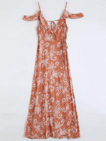 Cold Shoulder Paisley Ruffles Maxi Wrap Dress - Orange Red S