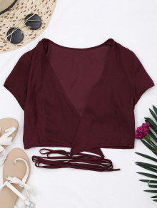 Criss Cross Cropped Wrap Top - Wine Red S