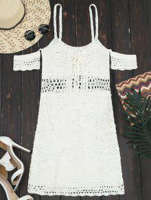 Hollow Out Lace Up Cami Knit Dress - Off-white M