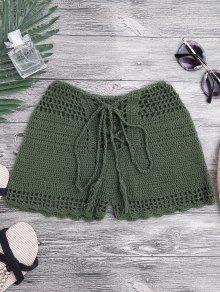 Lace Up Crochet Beach Swim Shorts - Blackish Green S