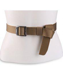 مستطيل معدني مشبك قماش حزام - قهوة