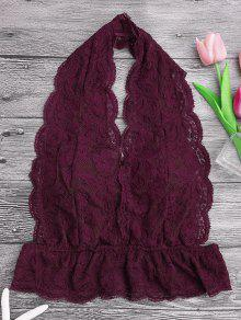 Galloon Lace Plunge Halter Bra - Burgundy S