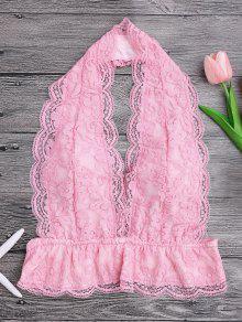Galloon Lace Plunge Halter Bra - Pink S