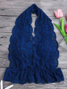 Galloon Lace Plunge Halter Bra - Blue S