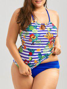Cross Back Tropical Fruit Print Plus Size Tankini Set - Blue 2xl