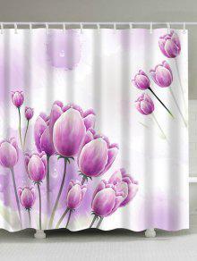 توليب الأزهار طباعة ماء الحمام دش الستار - زهري W71inch*l79inch