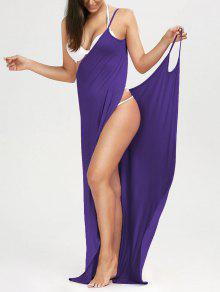 Robe De Plage Longue Style Wrap  - Violet S