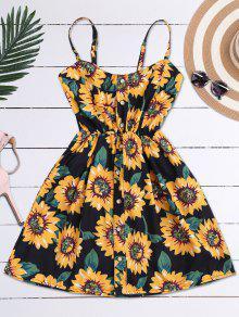 Mini Vestido Floral De Bata Con Tirantes Finos Con Botones - Negro