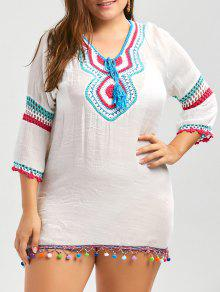 Túnica De Franja De Talla De Crochet Plus Size Cover Up - Blanco