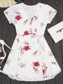 Vestido Encubierto De Flores Con Escote Pico Con Mangas De Gasquillo - Blanco L