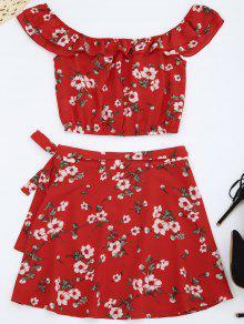 قبالة الكتف الزهور الأعلى مع تنورة التفاف - أحمر L