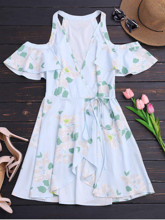 Ruffles Cold Shoulder Wrap Mini Dress - Floral S
