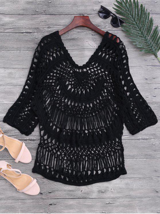 unique See-Through Crochet Cover Up Top - BLACK ONE SIZE