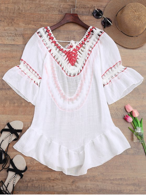buy Crochet Open Back Beach Cover Up Dress - WHITE ONE SIZE