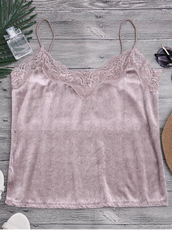 Lace Velvet Camisole Lounge Top - Rosa M