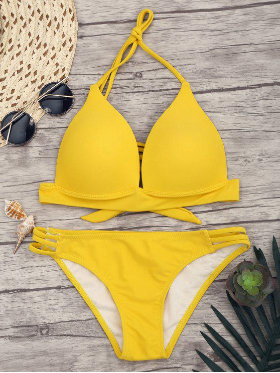 chic Fuller Bust Molded Cup Bikini Set - YELLOW L