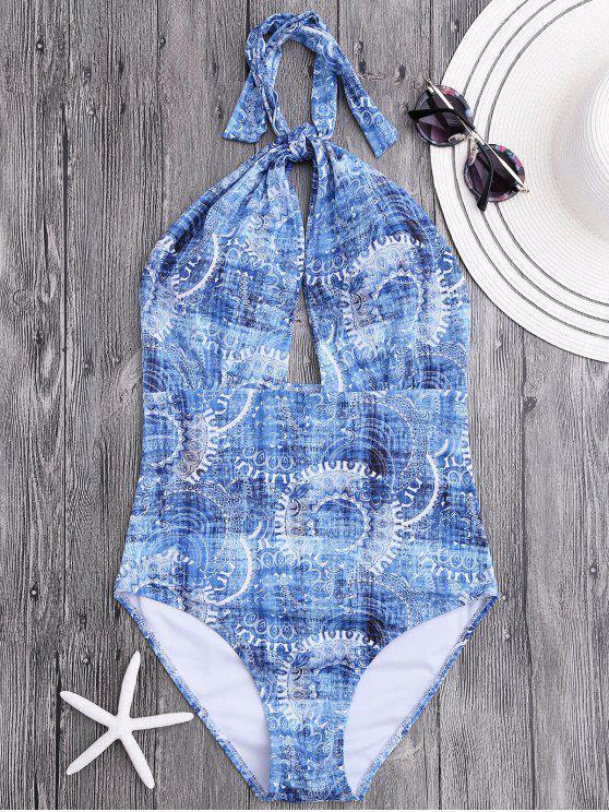 women's Backless High Cut Retro Patterned Swimwear - COLORMIX M