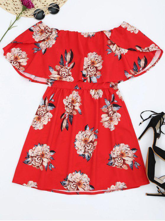 Robe Floral Épaules Dénudées à Volants - Rouge S