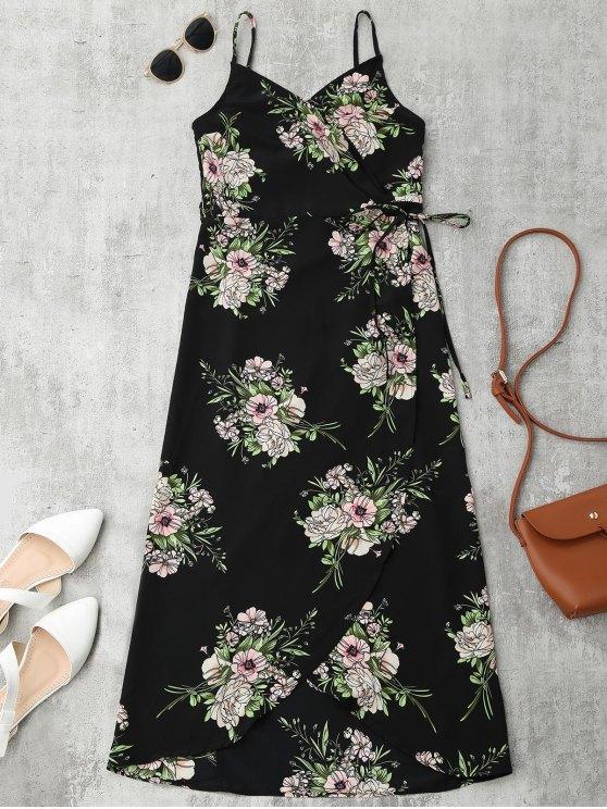 Midi Vestido Envuelto Floral con Tirante Fino - Floral S