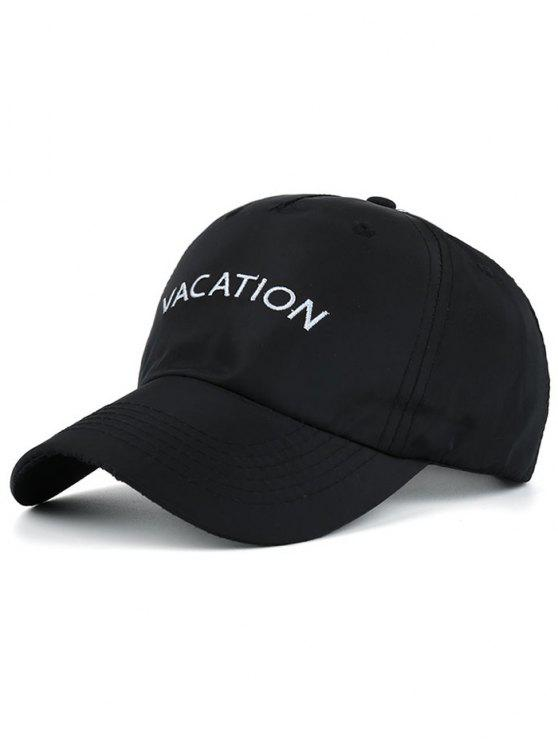 sale Waterproof Letters Embroidery Baseball Hat - BLACK